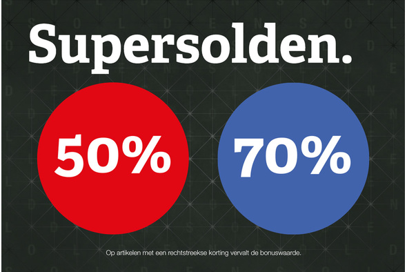 Supersolden: 50 en 70% korting!