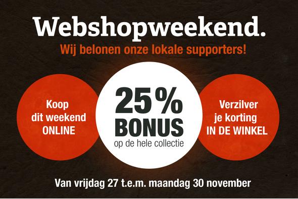 Webshopweekend: 25% bonus