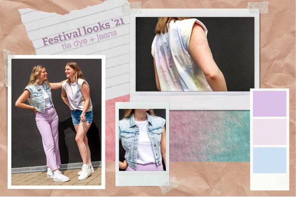 FESTIVAL FASHION - Jeansvest en tie dye